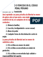 Feminicidio o Femicidio en El Código Penal Peruano