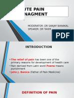Acute Pain Managment