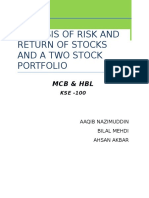 Analysis of Risk and Return of Stocks and a Two Stock Portfolio