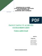GUION AUDIOVISUAL PACO Y YACO UN ALREVES EXTRAORDINARIO