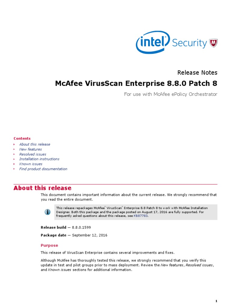 Mcafee Virusscan Enterprise 8 8 0 Patch 8: Release Notes