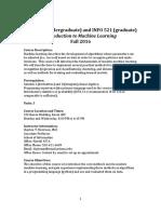 ISTA421 INFO521 Machine Learning Syllabus Fall2016