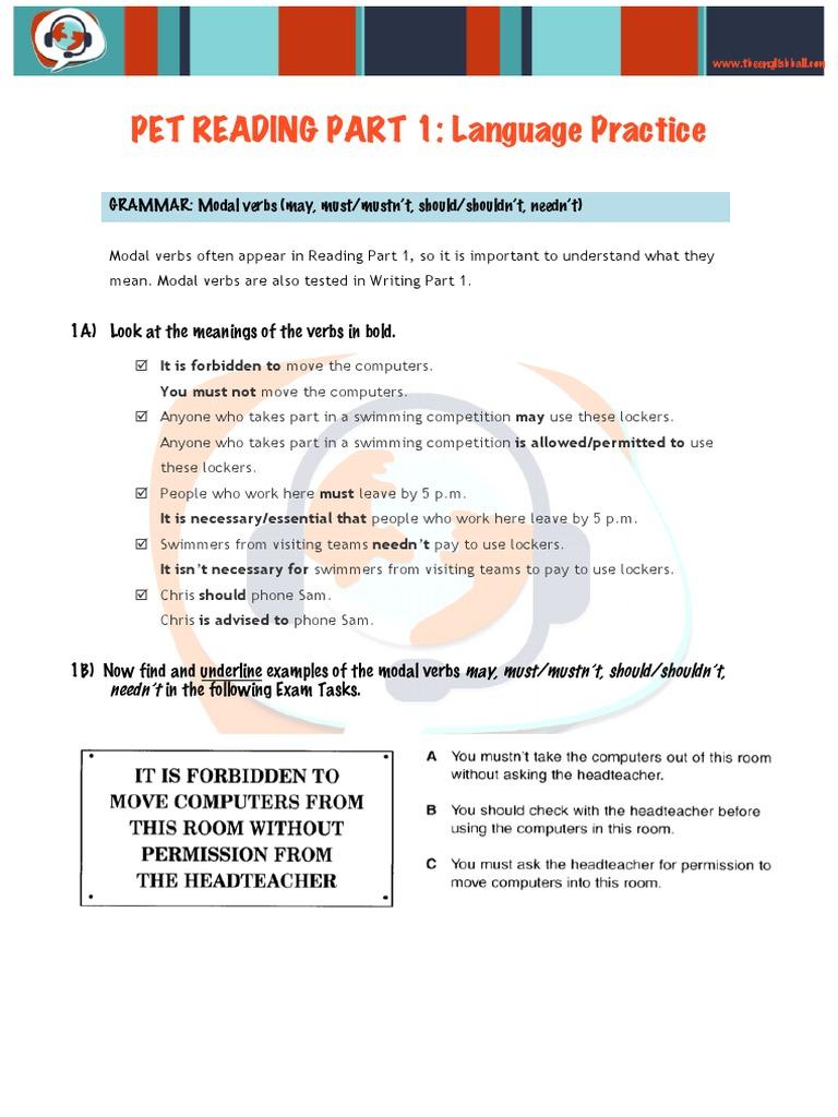 Pet Reading Part 1 - Language Practice   Ticket (Admission