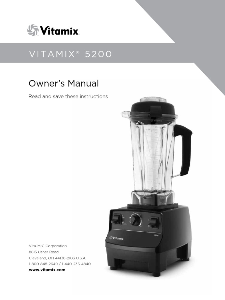 Vitamix 5200 owners manualpdf blender ac power plugs and sockets forumfinder Choice Image
