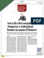 """Area di crisi complessa """"Imprese e istituzioni hanno in mano il futuro"""""""