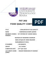 FST 202 Evaluation of egg quality