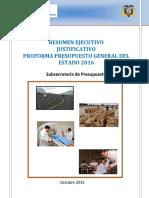 Resumen Ejecutivo Justificativo de Ingresos y Gastos Proforma Presupuestaria 2016