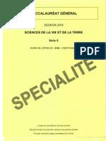 BAC Sciences de La Vie Et de La Terre SVT Specialite 2010 S