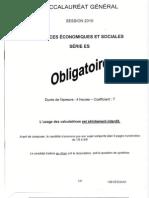 BAC Sciences Economiques Et Sociales SES 2010 SES