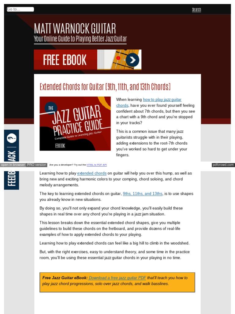 Mattwarnockguitar Com Extended Chords Chord Music Guitars