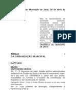 Lei Orgânica Do Município de Jataí de 05 de Abril de 1990