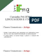 Cursinho Pré-IFMG 2016 - Linguagens e Códigos - ARTIGO