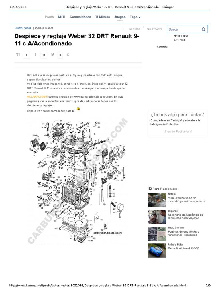 Ajuste Weber 32 DRT Renault 9-11 c A_Acondionado