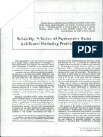 Reliability a Review of Psychometric Basics