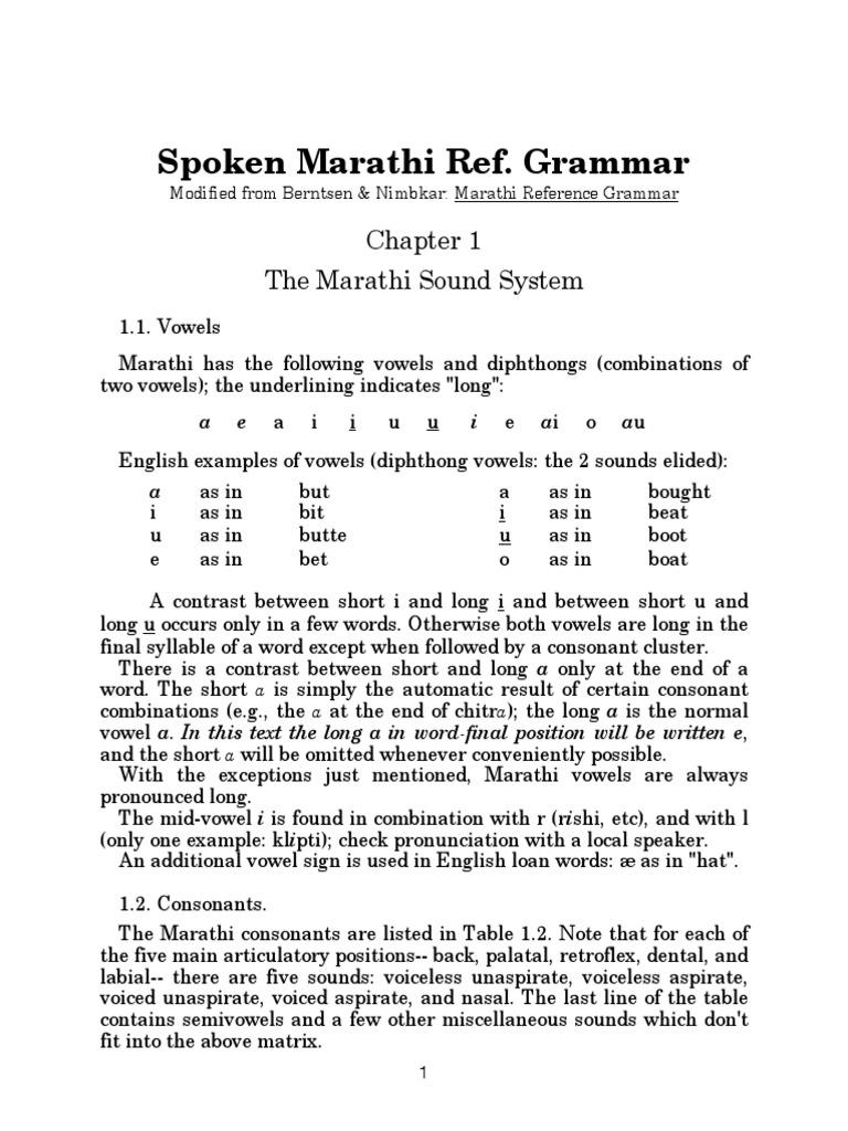 Spoken Marathi Reference Grammar | Grammatical Gender