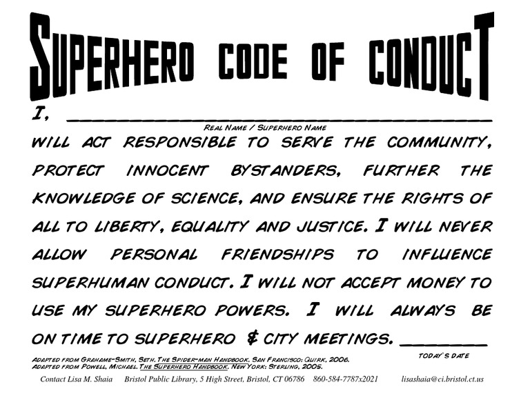 Superhero Code of Conduct