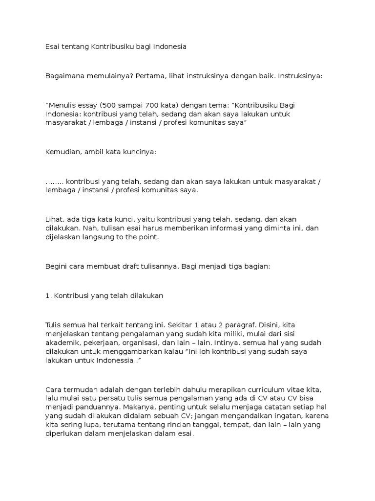 Esai Tentang Kontribusiku Bagi Indonesia