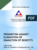 Diminution of Benefits