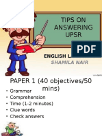 Tips on Answering Upsr