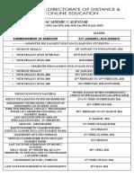 Academic Calendar Till Session July 2015