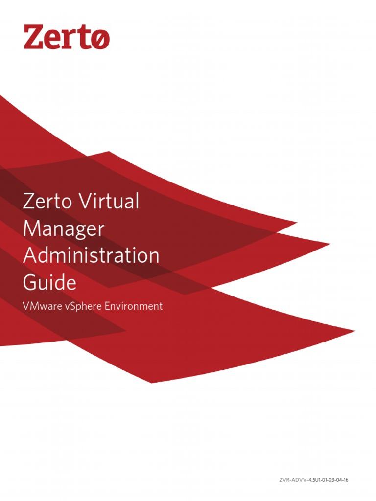 Zerto Virtual Manager VSphere Administration Guide | Hyper V | Computing