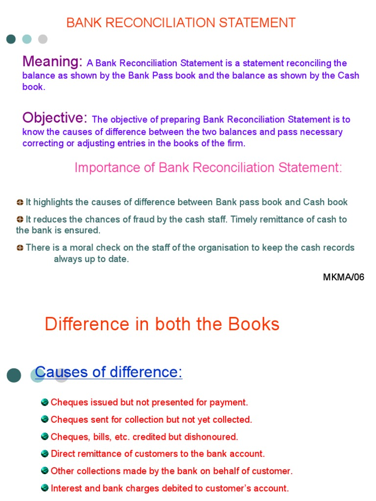 objectives of bank reconciliation statement