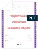 Programa de La Asignatura Educacion Estetica