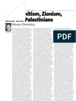 Anti-Semitism, Zionism, And the Palestinians by Noam Chomsky
