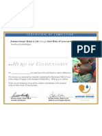 Hero of Compassion Certificate 2010