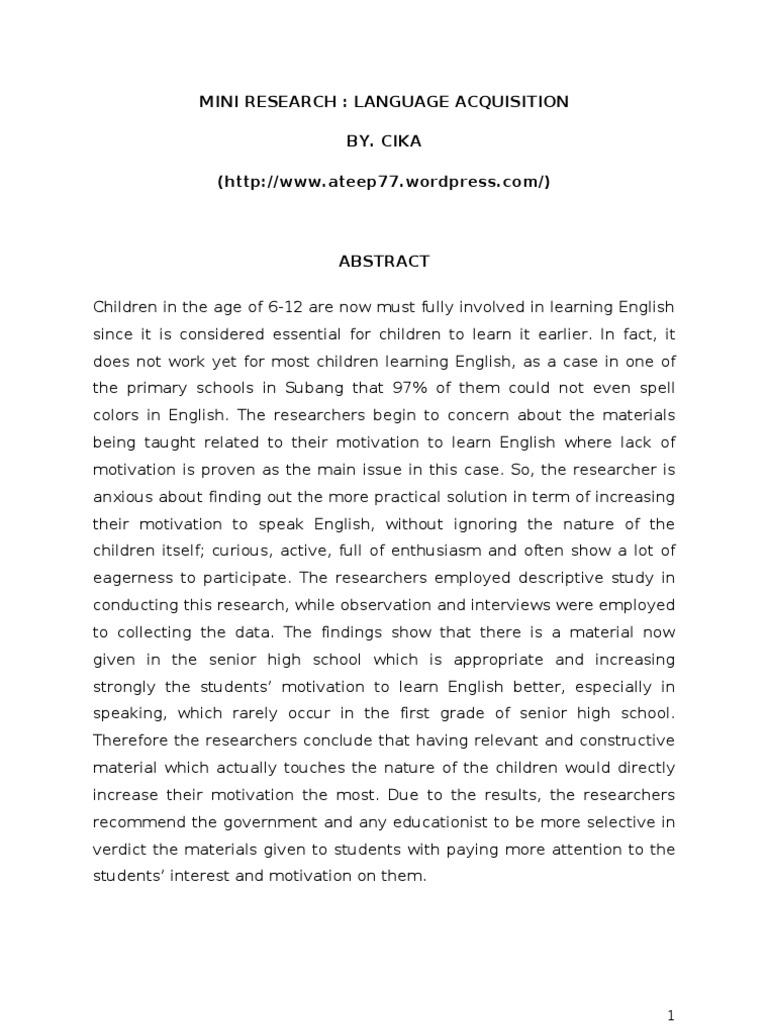 Mini Research Language Acquisition 1 Qualitative Research Motivation