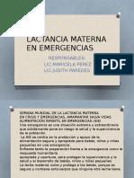 Lactancia Materna en Emergencias