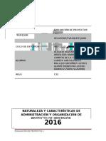 Naturaleza y Características de Administración y Organización de Proyecto de Inversión.