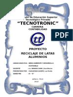Proyecto Reciclaje de Latas Aluminios