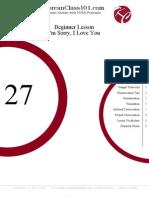 Beginner Lesson #27 - I'm Sorry, I Love You