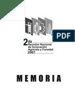 2da Reunion Nacional de Innovacion Agricola y Forestal 2007 Memoria