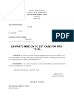 Ex Parte Motion to Set Case for Pre Trial