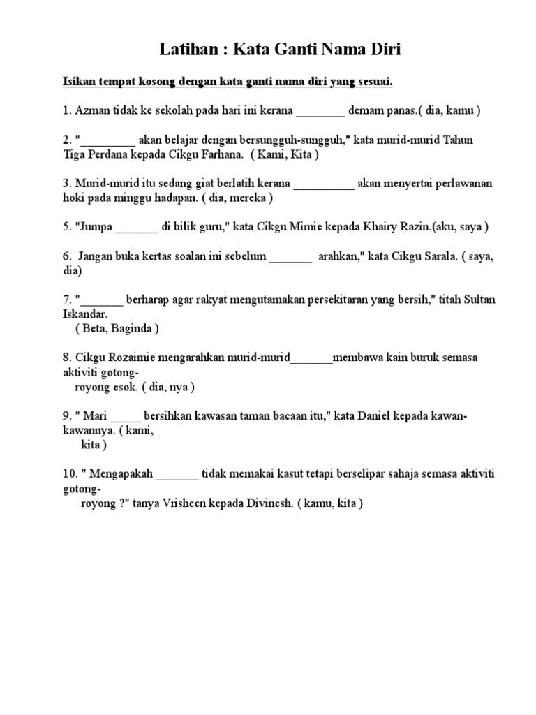 Latih Tubi Kata Ganti Nama Diri Tahun 2