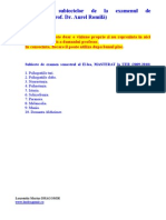 Rezolvari Subiecte Psihopatologie an I Sem II - (Prof. Dr. Aurel Romila)