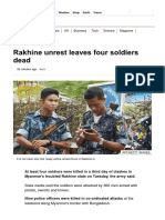Rakhine Unrest Leaves Four Soldiers Dead - BBC News