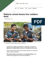 Rakhine Unrest Leaves Four Soldiers Dead - BBC News