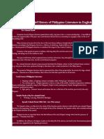 A Brief History of Philippine Literature in English