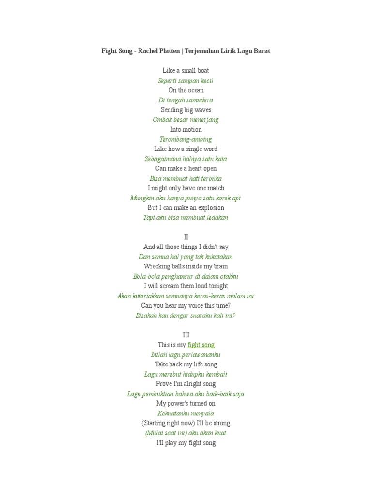 photo about Fight Song Lyrics Printable named Combat Track - Rachel Platten Terjemahan Lirik Lagu Barat