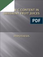 Vitamin c Content in Fruit Juices