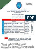 CAMPEONATO MAGISTERIAL - 2106PROGRAMACION 11° FECHA FUTSAL LIBRE