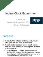 Iodine Clock Chemical Kinetics