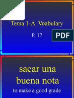 Spanish II Vocabulary 1-A