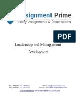 Sample Assignment on Leadership & Management Development