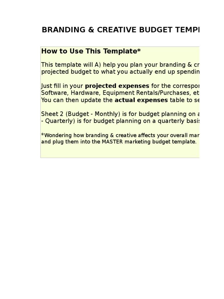 6 Branding Creative Budget Template Xls Typefaces Computer