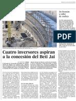 Cuatro inversores aspiran a la concesión del Beti-Jai (El País Madrid - 11/12/2016)