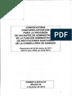 Examen Administrativo Sanidad Generalitat Valenciana Modelo B 2013